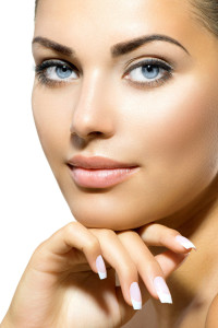 Face of Young Woman with Clean Fresh Skin. Skin care
